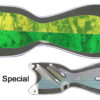 SD70988L-10 Spindoctor 10 Inch 1/2Mtn.dew, 1/2 GG Holo flat side- Silver Holo finside